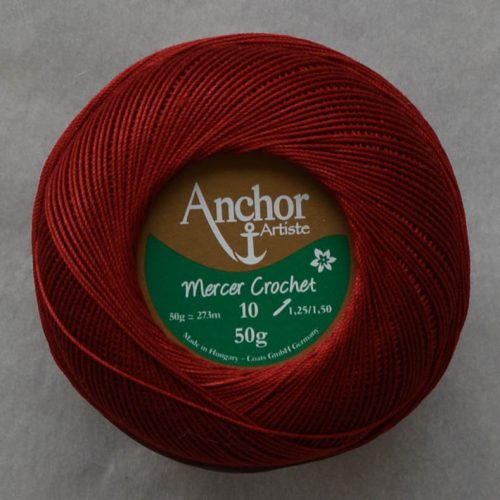 Anchor Mercer Crochet 10 bordová 20