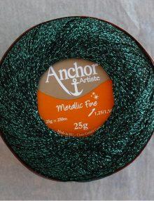 Anchor Metallic Fine 322 čierna+zelený lurex