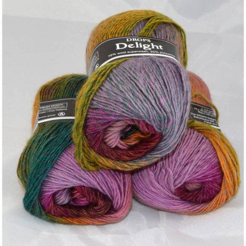 DROPS Delight 11 hrdzavá/smaragdová/odtiene ružovej