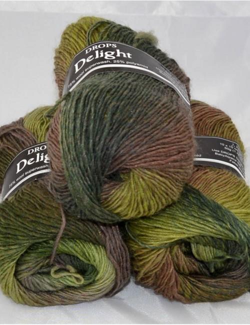 DROPS Delight 8 odtiene zelenej/ružové drevo