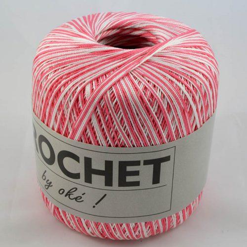 Crochet multi 300 ružovo-biely melír