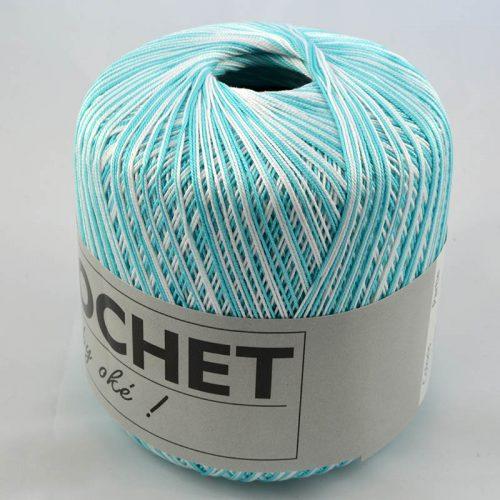 Crochet multi 303 tyrkysovobiely melír