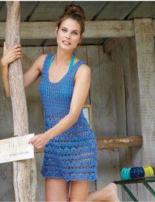 Háčkované modré šaty - návod + priadza
