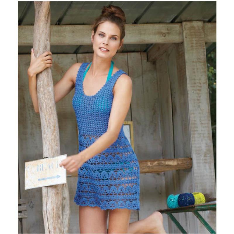 31e814e6d94a Háčkované modré šaty - návod + priadza