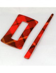 Spona obdĺžnik červené káro