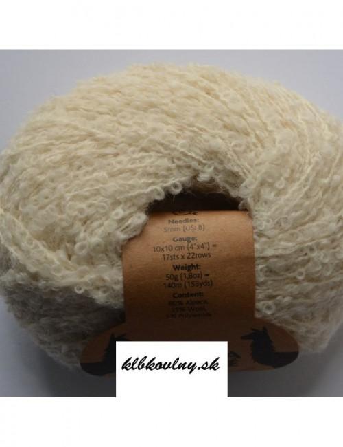 DROPS Alpaka Bouclé 0100 Prírodná biela
