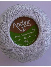 Anchor Mercer Crochet Metallic 1 biela+strieborný lurex