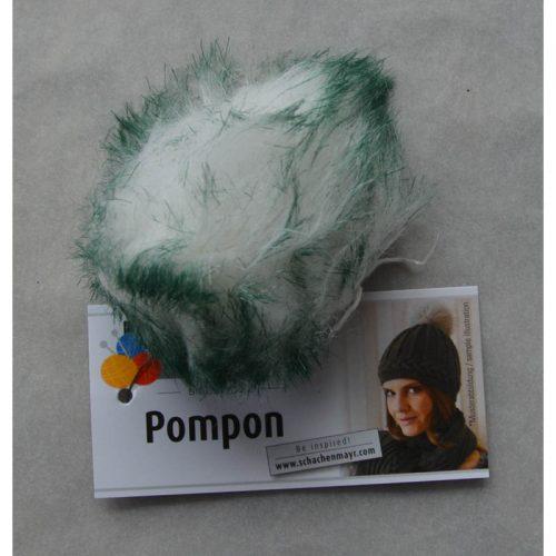 Pompon 69 biela/tmavozelená