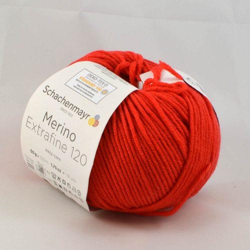 Merino extrafine 120 130 jasná červená